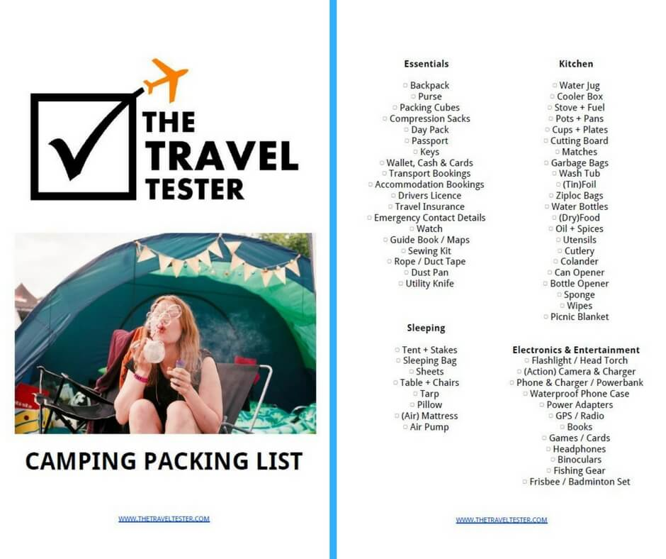 download your free camping checklist the travel tester